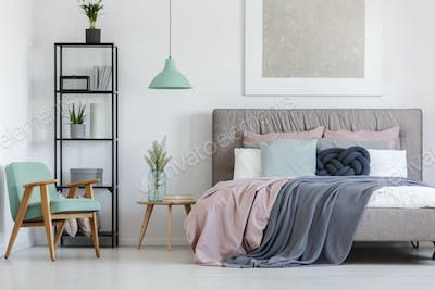 Bed with pastel bedding