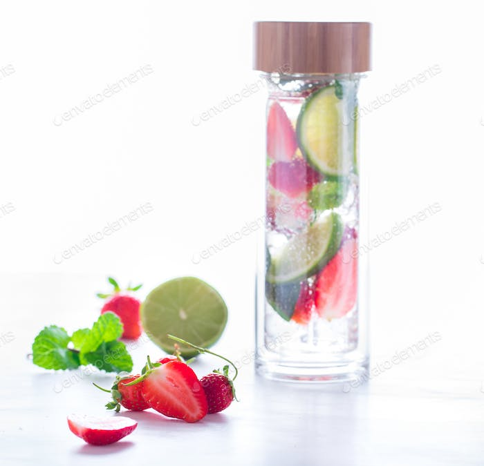 Drink with ice, berries.Mojito Strawberry