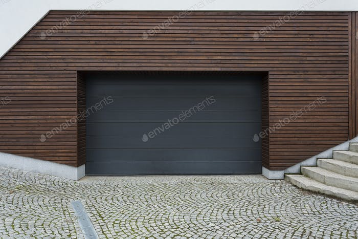 Black and wooden garage