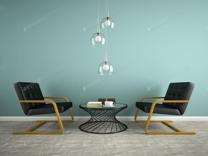 Part of  interior with two black armchair 3D rendering 2