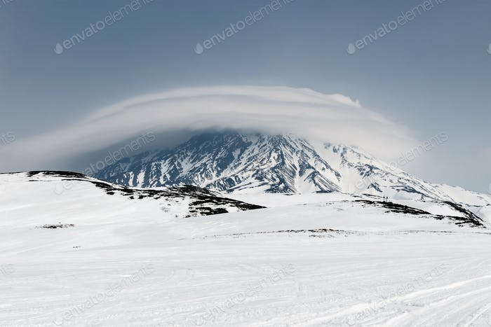 Wintry Mountain Landscape of Kamchatka: Active Koryaksky Volcano