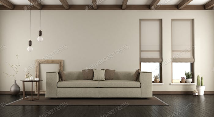 Elegant living room with sofa on carpet