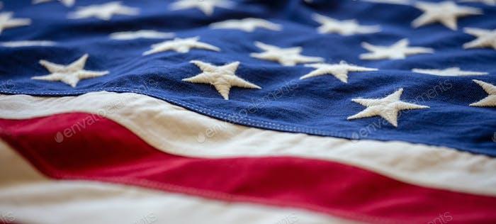 Bandera de EE.UU., EE.UU. de América símbolo de fondo, vista de primer plano