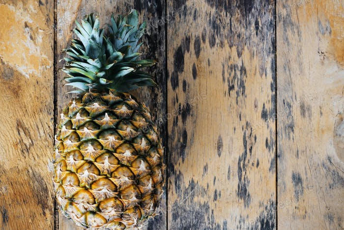 pineapple on the old wooden