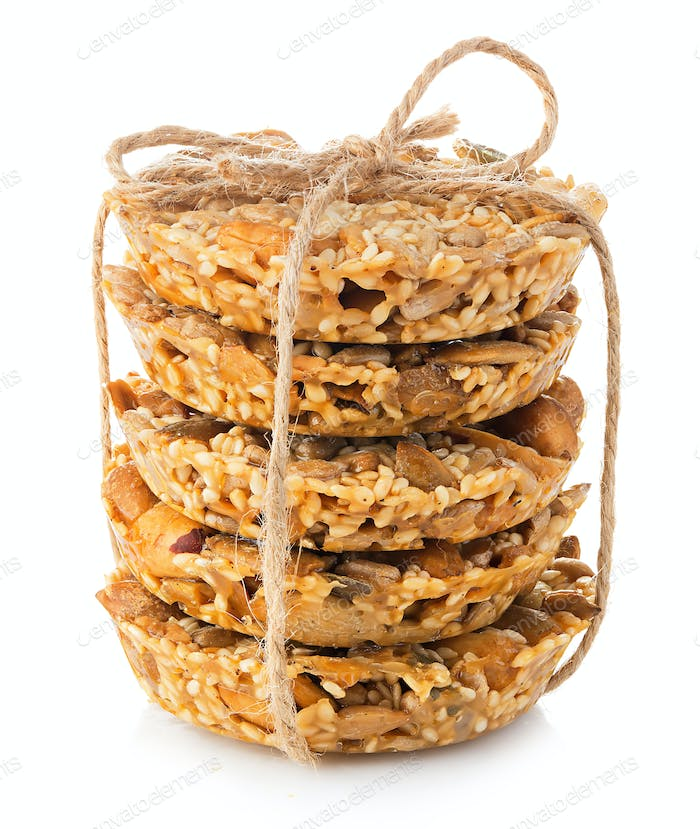 Cereal cookies close-up isolated on a white background.