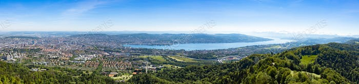 Panaromic view of Zurich city and lake from Uetliberg viewpoint