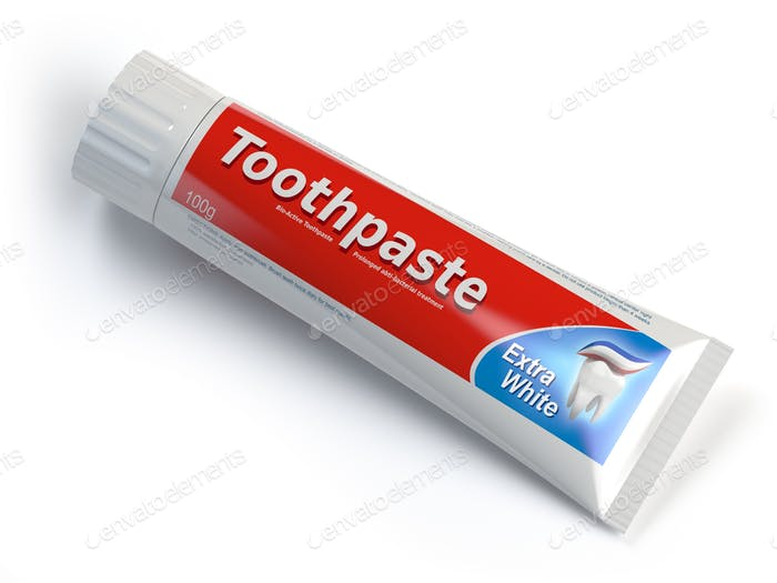 Ttoothpaste containers on white isolated background.