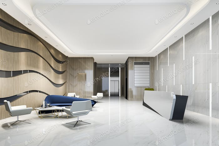 modern luxury hotel and office reception and lounge with blue sofa near lift corridor