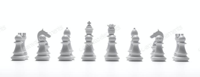 Chess white set isolated on white background. 3d illustration