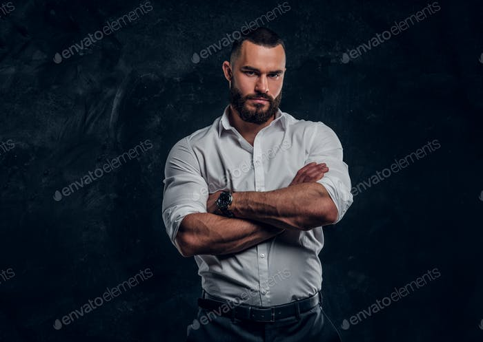 Portrait of attractive man in white shirt