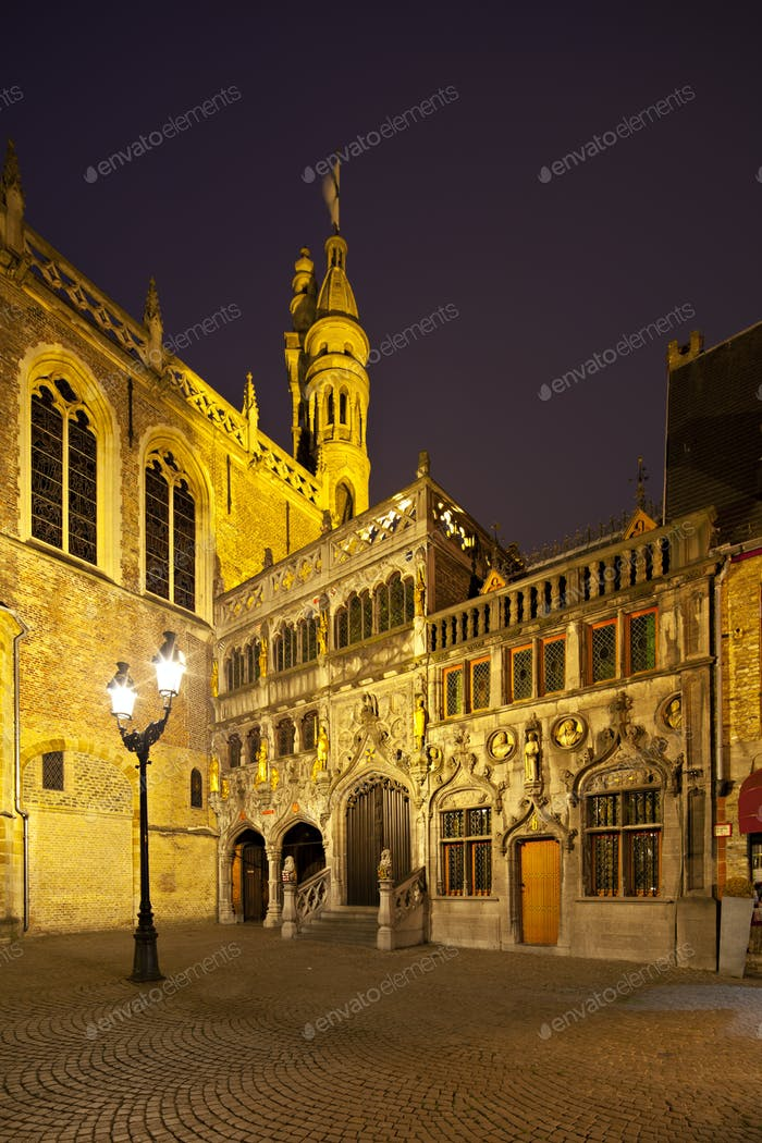 Bruges Basilica of the Holy Blood At Night