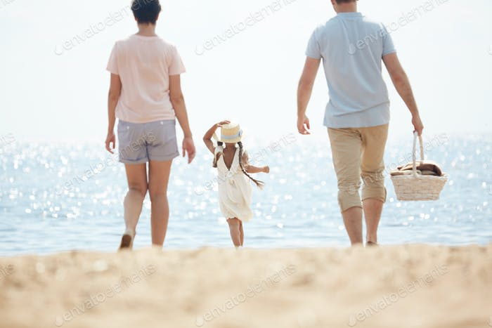 Family by seaside