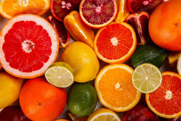Different Citrus Fruit .Antiviral healthy food. Immunity restoration.