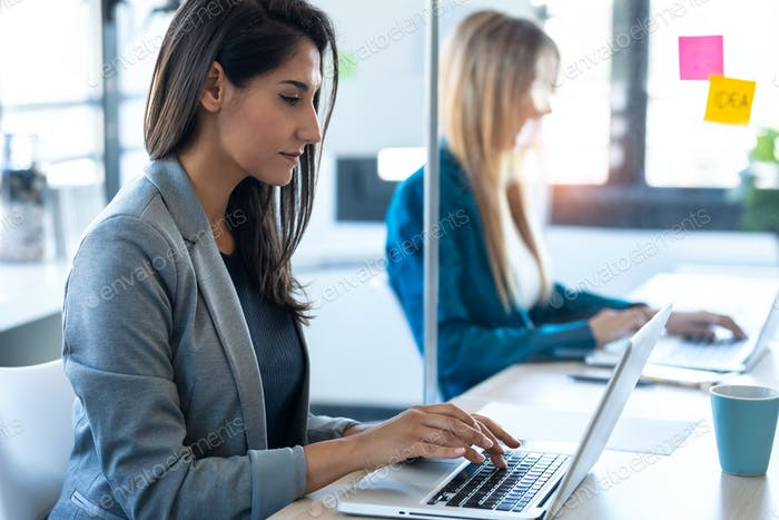 two business women work with laptops on the partitioned desk in the coworking space.