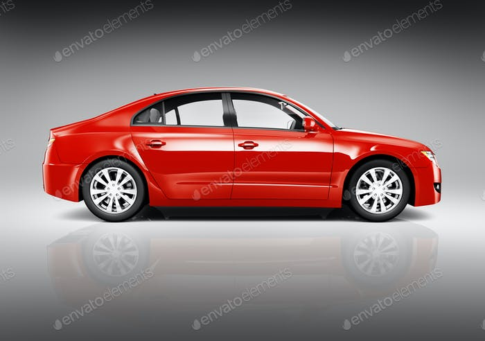 Studio Shot of Side View of Red Sedan