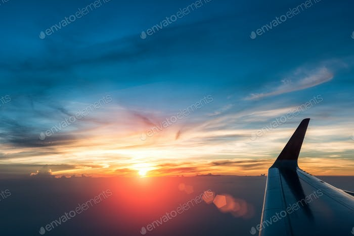 glorious sunset in the air