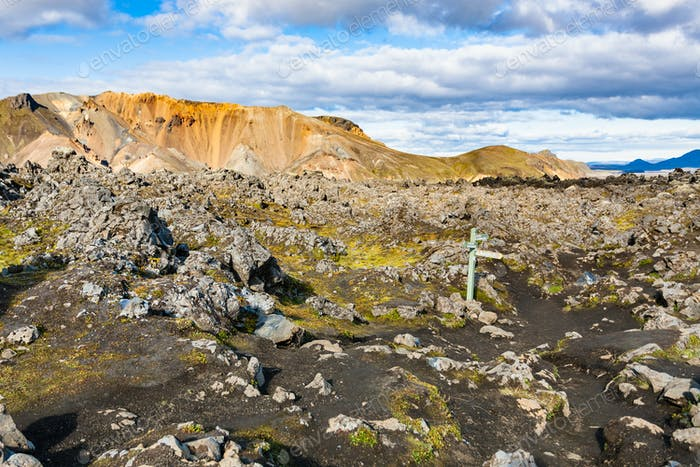 Markierung bei Laugahraun vulkanischem Lavafeld in Island