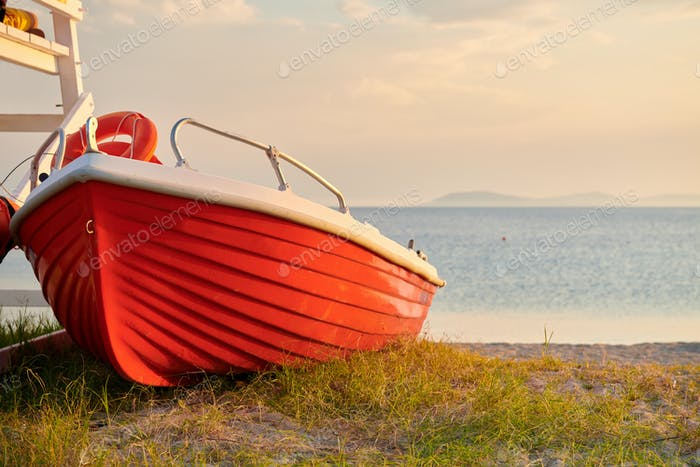 Boat on beach, Sithonia, Greece