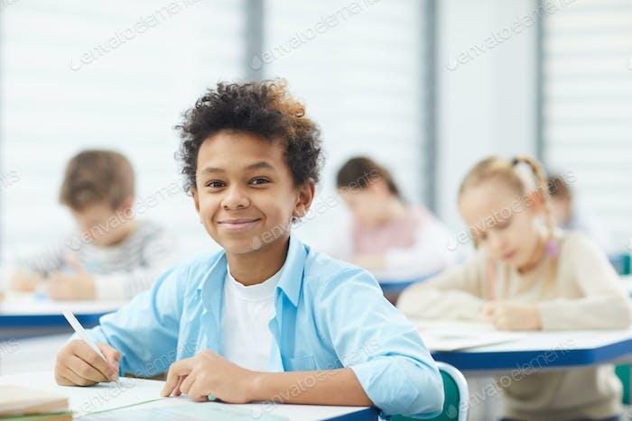 Schoolboy Looking At Camera