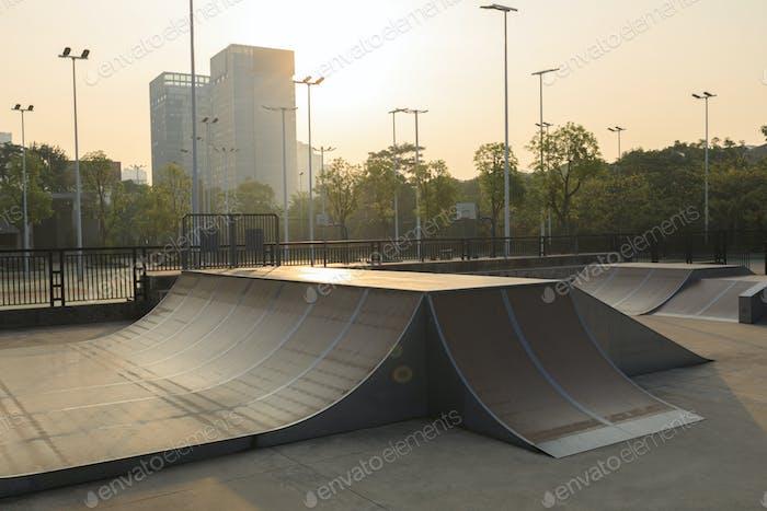 modern skatepark in the sunrise