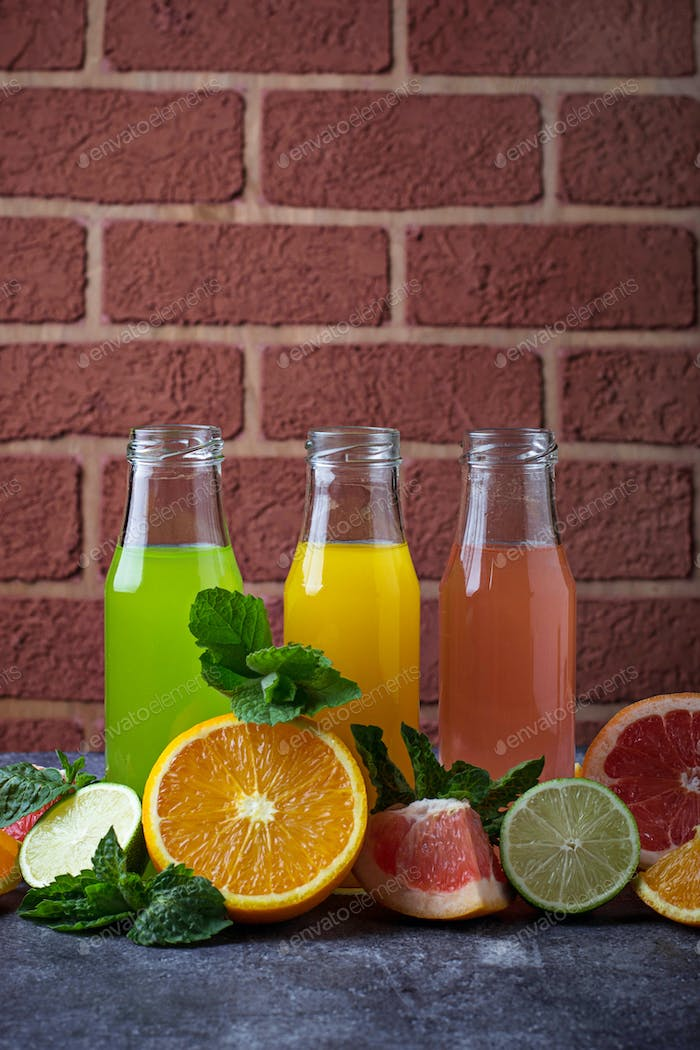 Fresh citrus juices. Detox drinks