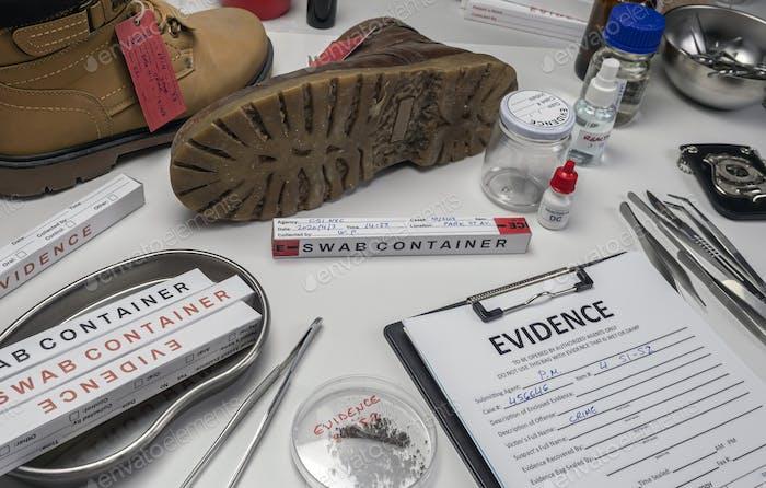 Shoe particle trace samples in crime lab, homicide investigation, concept image