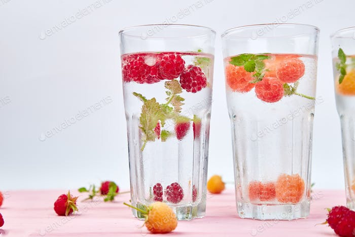 Detox infused flavored water with three color raspberry