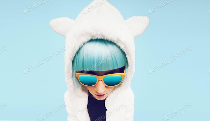 Fashion Girl in hoodie Teddy Bear on a blue background