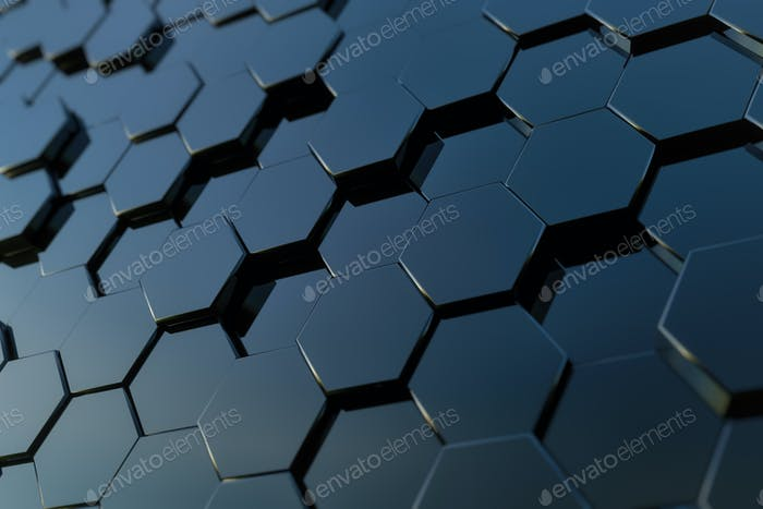 Abstract hexagon background. 3d rendering