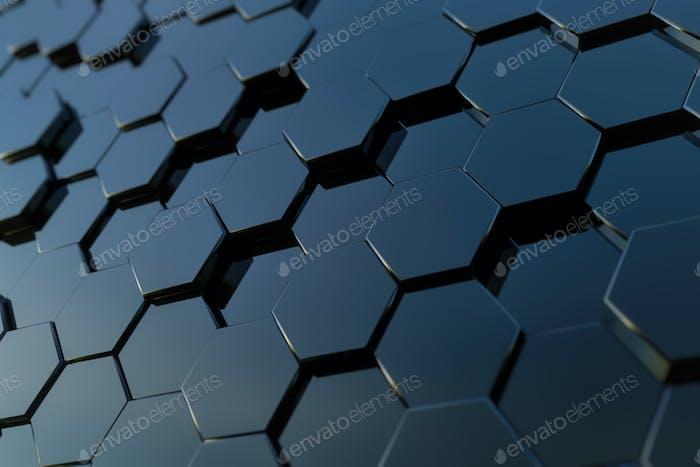 Abstract hexagon background. 3d rendering