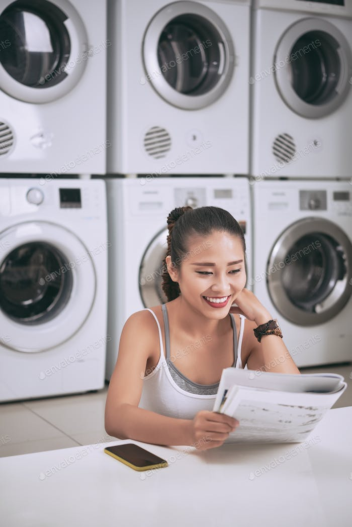 Reading in laundry room