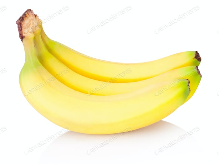 Three bananas isolated on a white background