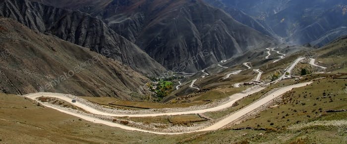 Twisting road to the top of a pass