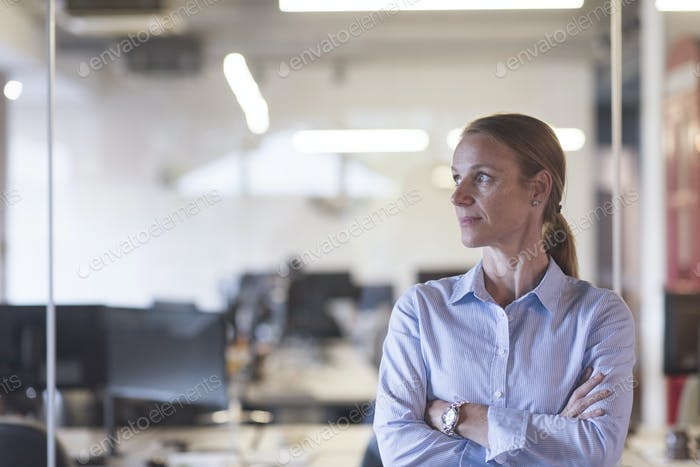 portrait of casual business woman at office