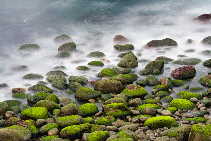 Green Stones In The Surf, Iceland