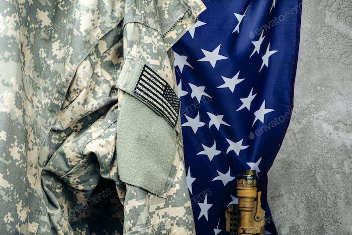 US army military khaki uniform close up