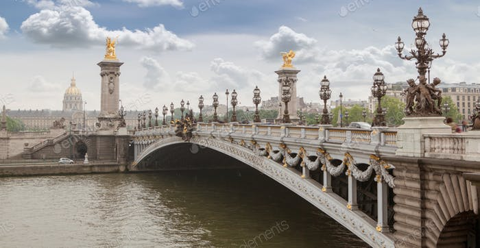 Panorama with Pont Alexandre III Bridge and overlooking the old city, cloudy day. France Paris