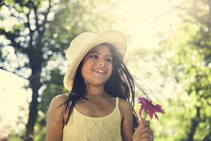 Girl Flower Enjoyment Refreshment Holiday Joy Concept