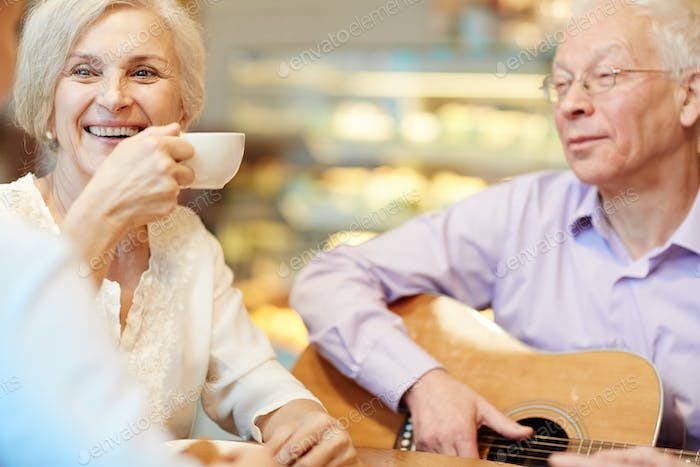 Leisure with tea and guitar