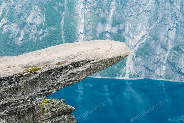 Scenic View Of Rock Trolltunga - Troll Tongue In Norway. Rock In