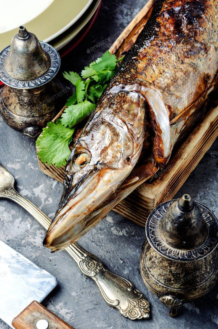 Pike stuffed with mushrooms