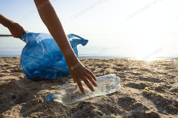 Volunteer Picking Up Wasted Plastic Bottle Cleaning The Beach Outdoor