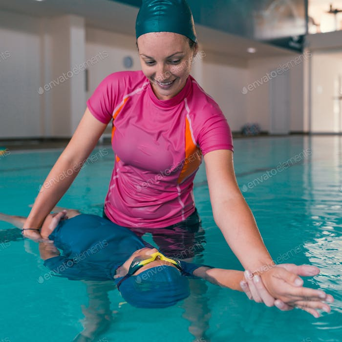 Boy on swimming class