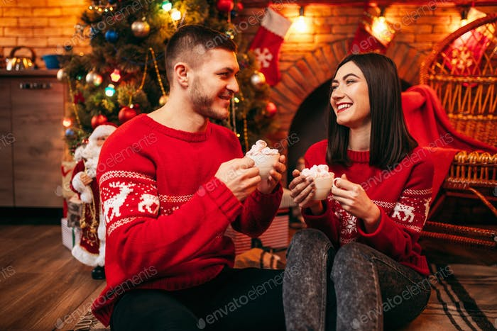 Love couple, romantic christmas celebration