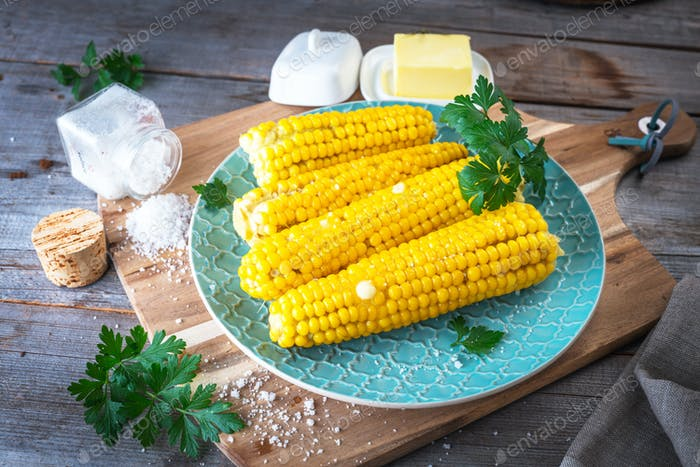 Boiled corn with butter and salt
