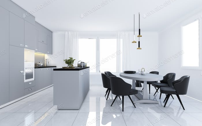 3d rendering scandinavian vintage modern minimal kitchen with white dining area