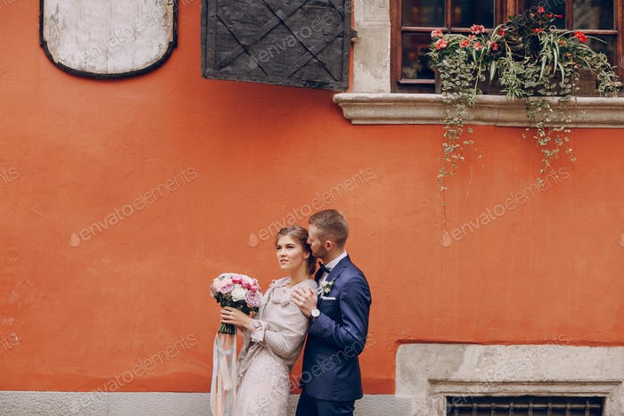 groom and bride in a hotel