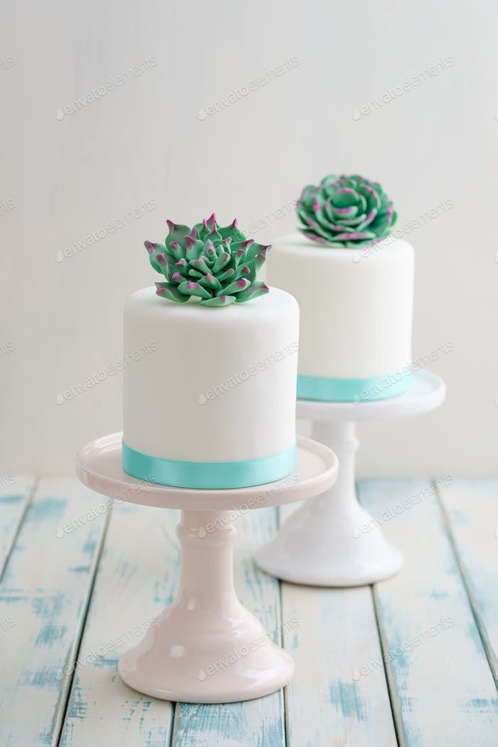 Mini succulent wedding cakes