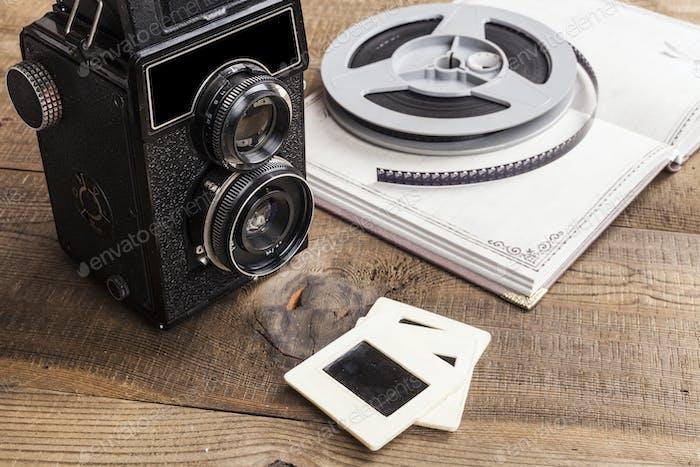 Schwarze alte Kamera