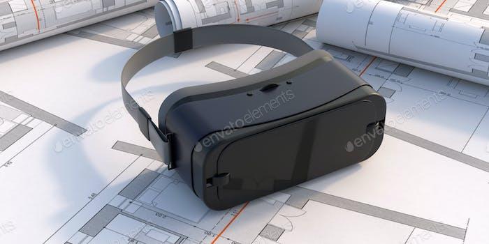 Virtual reality glasses on blueprint plans background. 3d illustration